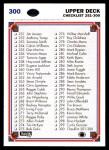 1991 Upper Deck #300   Checklist 201-300 Back Thumbnail