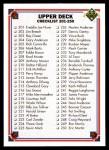 1991 Upper Deck #300   Checklist 201-300 Front Thumbnail
