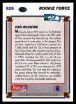 1991 Upper Deck #626  Dan McGwire  Back Thumbnail
