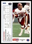 1991 Upper Deck #665  Stan Humphries  Back Thumbnail