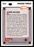 1991 Upper Deck #623  Alfred Williams  Back Thumbnail