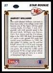 1991 Upper Deck #27  Harvey Williams  Back Thumbnail