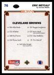 1991 Upper Deck #76   -  Eric Metcalf Cleveland Browns-FB Team Back Thumbnail