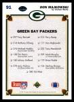 1991 Upper Deck #91   -  Don Majkowski Green Bay Packers Team Back Thumbnail