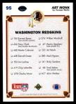 1991 Upper Deck #95   -  Art Monk Washington Redskins Team Back Thumbnail