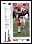 1991 Upper Deck #145  Ickey Woods  Back Thumbnail