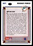 1991 Upper Deck #607  Bryan Cox  Back Thumbnail