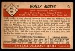 1953 Bowman #95  Wally Moses  Back Thumbnail