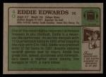 1984 Topps #40  Eddie Edwards  Back Thumbnail