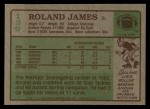 1984 Topps #139  Roland James  Back Thumbnail