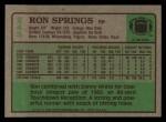 1984 Topps #245  Ron Springs  Back Thumbnail