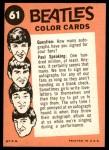 1964 Topps Beatles Color #61   Beatles performing Back Thumbnail