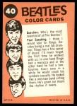 1964 Topps Beatles Color #40   John, Paul with Ringo on harmonica Back Thumbnail
