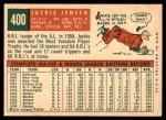 1959 Topps #400  Jackie Jensen  Back Thumbnail