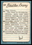 1964 Topps Beatles Diary #24 A Paul McCartney  Back Thumbnail