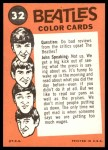 1964 Topps Beatles Color #32   Ringo and John with a dog Back Thumbnail