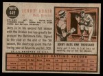 1962 Topps #449  Jerry Adair  Back Thumbnail