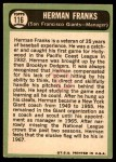 1967 Topps #116  Herman Franks  Back Thumbnail
