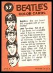 1964 Topps Beatles Color #57   Paul and Ringo Back Thumbnail