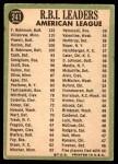 1967 Topps #241   -  Harmon Killebrew / Boog Powell / Frank Robinson AL RBI Leaders Back Thumbnail