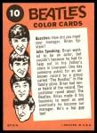 1964 Topps Beatles Color #10   John speaking Back Thumbnail