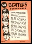 1964 Topps Beatles Color #54   Paul and Ringo in concert Back Thumbnail
