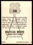 1964 Topps Beatles Movie #36   Paul Mccartney Is On Train Back Thumbnail