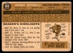 1960 Topps #80  Johnny Antonelli  Back Thumbnail