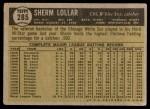 1961 Topps #285  Sherm Lollar  Back Thumbnail