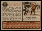 1962 Topps #212  Jim Owens  Back Thumbnail