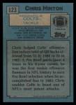 1988 Topps #123  Chris Hinton  Back Thumbnail