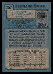1988 Topps #257  Leonard Smith  Back Thumbnail
