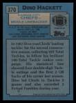 1988 Topps #370  Dino Hackett  Back Thumbnail