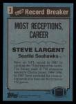 1988 Topps #3   -  Steve Largent Record Breaker Back Thumbnail