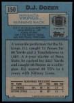1988 Topps #150  D.J.Dozier  Back Thumbnail