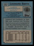 1988 Topps #257  Leonard Smith  Back Thumbnail