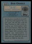 1988 Topps #312  Bob Crable  Back Thumbnail