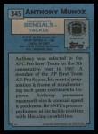 1988 Topps #345  Anthony Munoz  Back Thumbnail