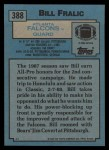 1988 Topps #388  Bill Fralic  Back Thumbnail