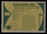 1989 Topps #1   Super Bowl XXIII Back Thumbnail