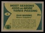 1989 Topps #5   -  Dan Marino Record Breaker Back Thumbnail