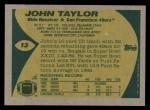 1989 Topps #13  John Taylor  Back Thumbnail