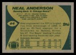 1989 Topps #64  Neal Anderson  Back Thumbnail