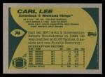 1989 Topps #76  Carl Lee  Back Thumbnail