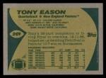 1989 Topps #201  Tony Eason  Back Thumbnail
