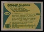 1989 Topps #365  Bennie Blades  Back Thumbnail