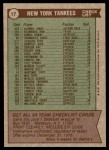 1976 Topps #17   -  Billy Martin Yankees Team Checklist Back Thumbnail