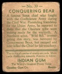 1933 Goudey Indian Gum #39  Conquering Bear   Back Thumbnail