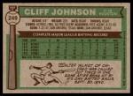 1976 Topps #249  Cliff Johnson  Back Thumbnail