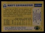 1982 Topps #144  Matt Cavanaugh  Back Thumbnail